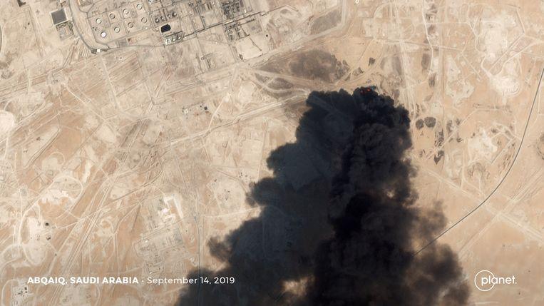 Een satellietbeeld van de vermeende drone-aanval.  Beeld Planet Labs Inc via REUTERS