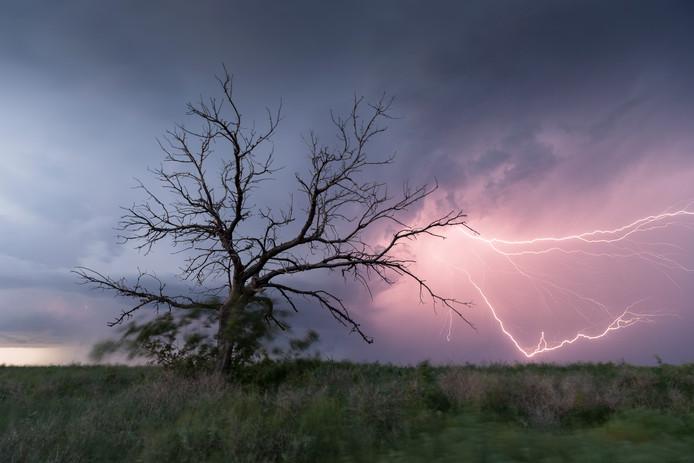 """15 mei, Stinnett (Texas). ,,Fraaie bliksemshow tijdens onze eerste succesvolle chase aan het begin van onze trip."""""""