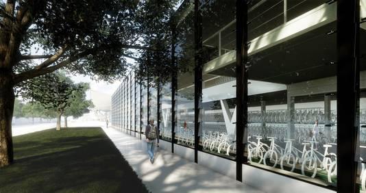 Impressie fietsenhotel aan de Spoorlaan.
