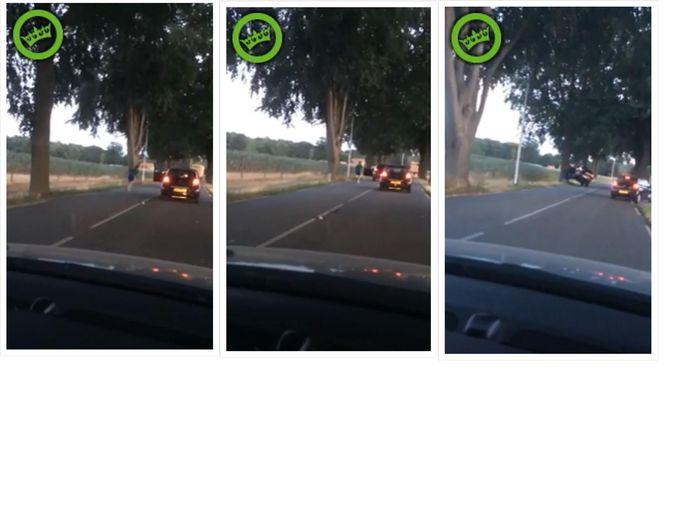 In drie beelden is te zien hoe een bestuurder uit zijn auto springt voor een keke-challenge, maar het eindigt in een overduidelijke 'fail'.