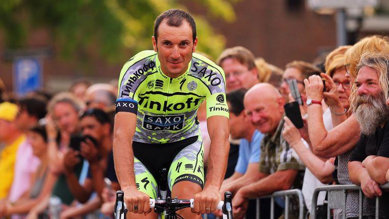 Ivan Basso tijdens de start van de Tour de France dit jaar Beeld getty