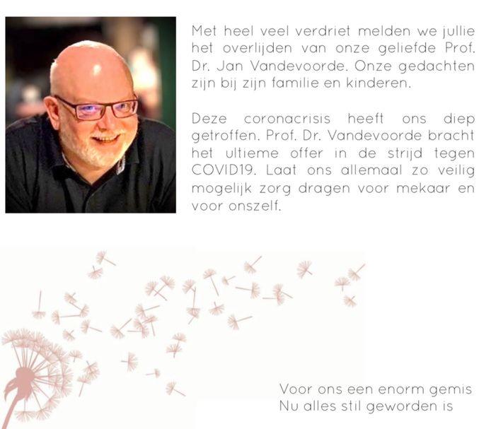 Dokter en VUB-prof Jan Vandevoorde.