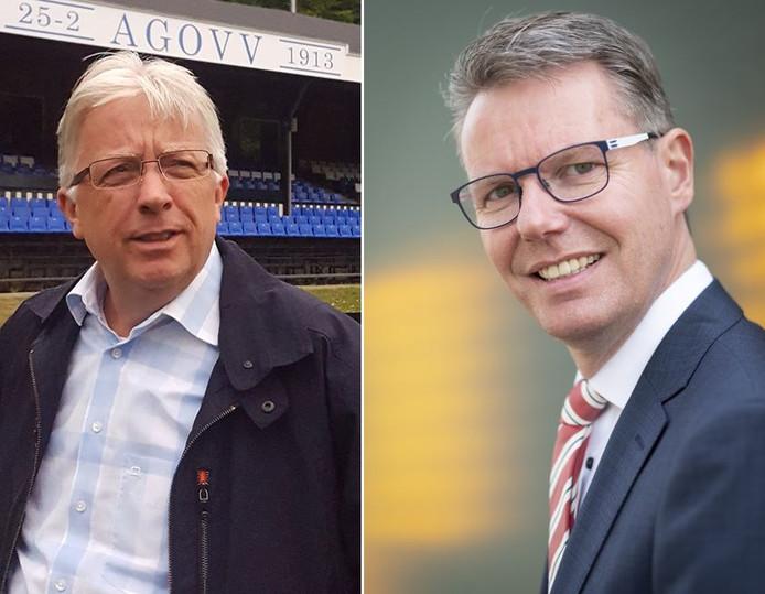 AGOVV-voorzitter Martin Maassen (l) en wethouder Wim Willems gaan in onderhandeling over de verkoop van twee trainingsvelden van AGOVV.