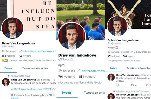 De valse profielen delen berichten en/of foto's onder de naam van Kamerlid Dries Van Langenhove.