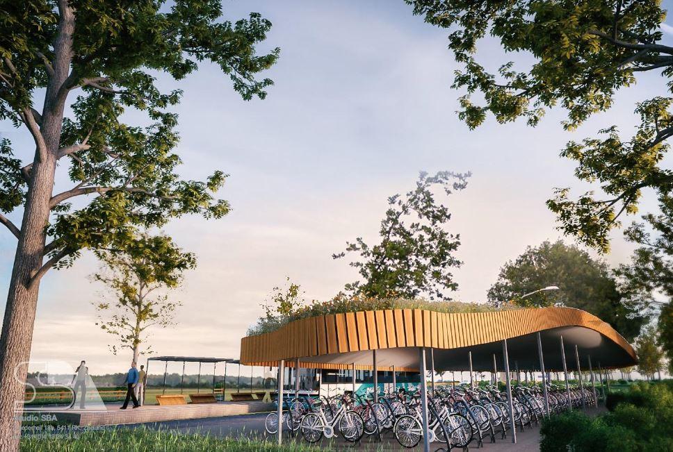 Aan de Zeelandse kant van de Bergmaas verrijst een groene fietsenstalling.