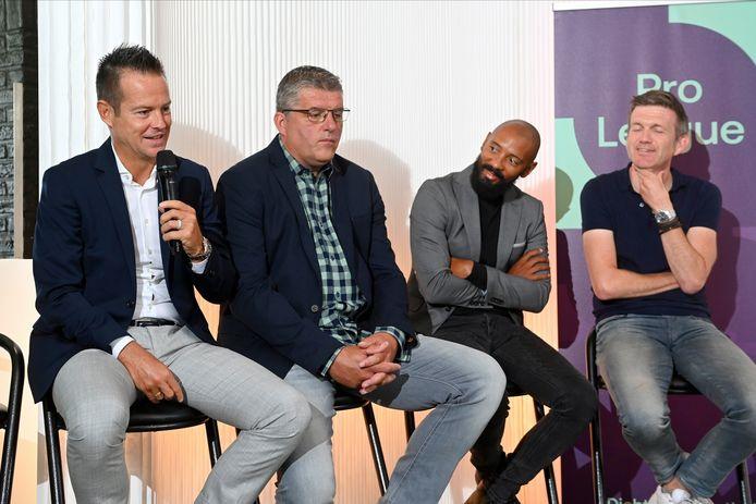 Eleven Sports-gezichten Gilles De Bilde, Philippe Albert, Gunter Van Handenhoven en (toen nog) Filip Joos tijdens de presentatie op 8 juli.
