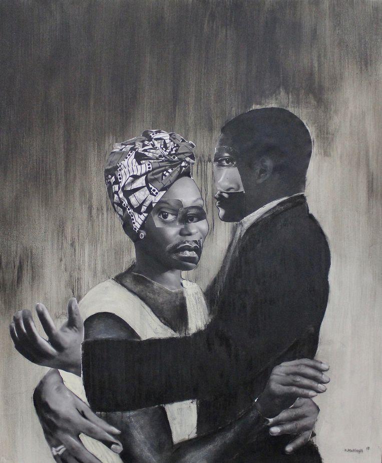 Neo Image Matloga, Madam le Sir, 2019, collage, houtskool, soft pastel & inkt op canvas, 170cm x 140cm. Courtesy Neo Image Matloga Beeld Neo Image Matloga