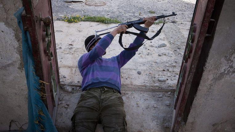 Een Syrische rebel in Menag. Beeld epa