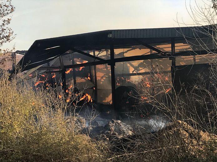 De brand in de schuur in Philippine zal volgens de brandweer nog dagen blijven branden. De omgeving is afgezet.