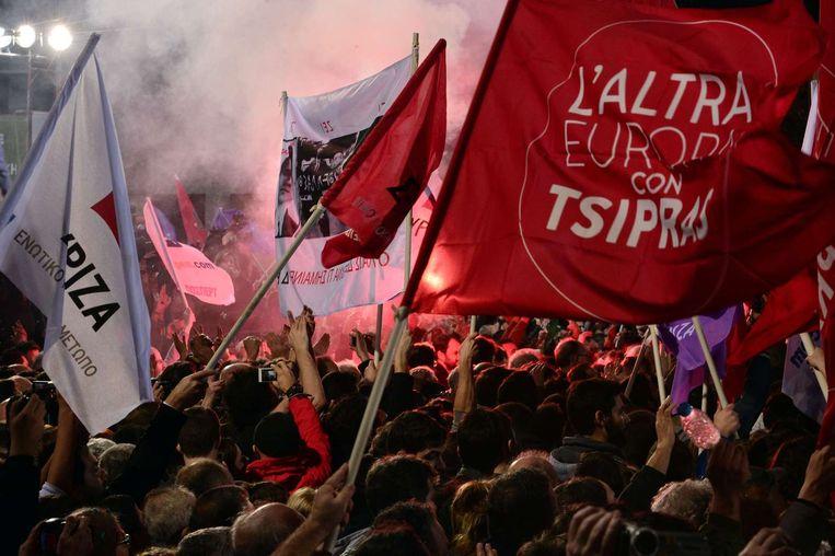 Aanhangers van Syriza tijdens een verkiezingsbijeenkomst. Beeld anp