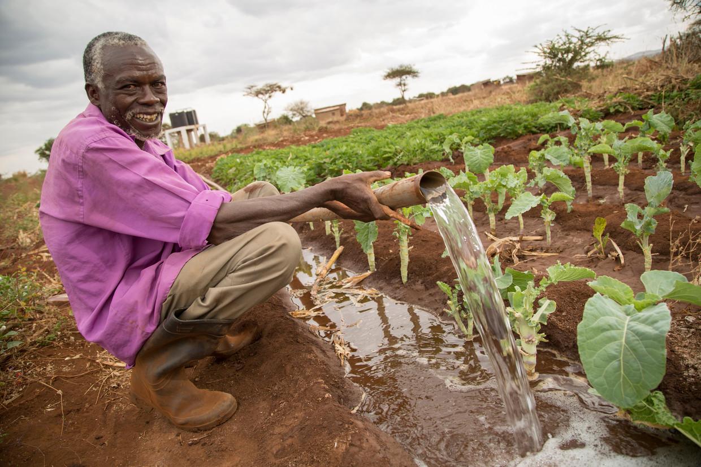 Een boer in het district Makueni irrigeert zijn akker. Beeld Imageselect/Alamy