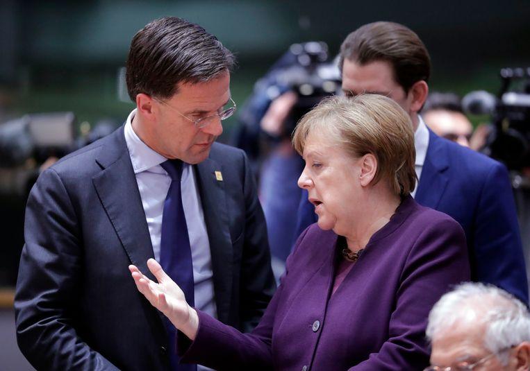 Premier Rutte en bondskanselier Angela Merkel. Beeld EPA