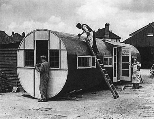 Een noodwoning van de romp van een Horsa, bedacht door aannemer Arthur Bedfort in Southborne in het zuiden van Engeland na de oorlog.