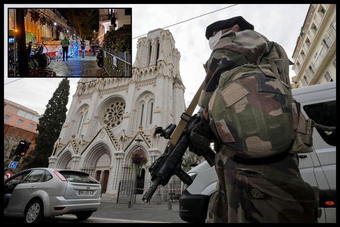 Een Franse soldaat na de aanslag in Nice. Agenten onderzoeken de zware mishandeling in Arnhem (inzet). Het slachtoffer overleed in het ziekenhuis.