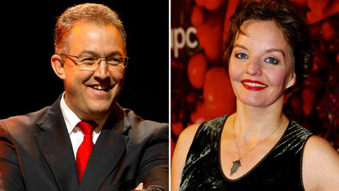 Burgemeester van Rotterdam Ahmed Aboutaleb en cabaretier Sanne Wallis de Vries geven om middernacht het startschot.