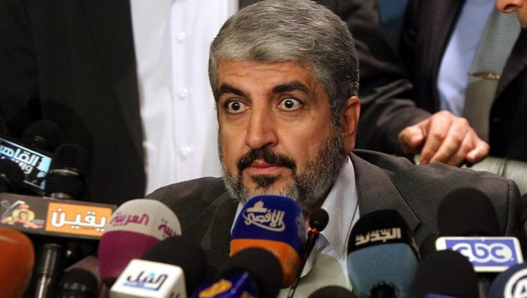 Hamas-leider Khaled Mashaal tijdens persconferentie in Caïro. Beeld epa