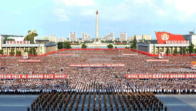 Een militaire parade in Noord-Korea op 9 augustus. Beeld afp