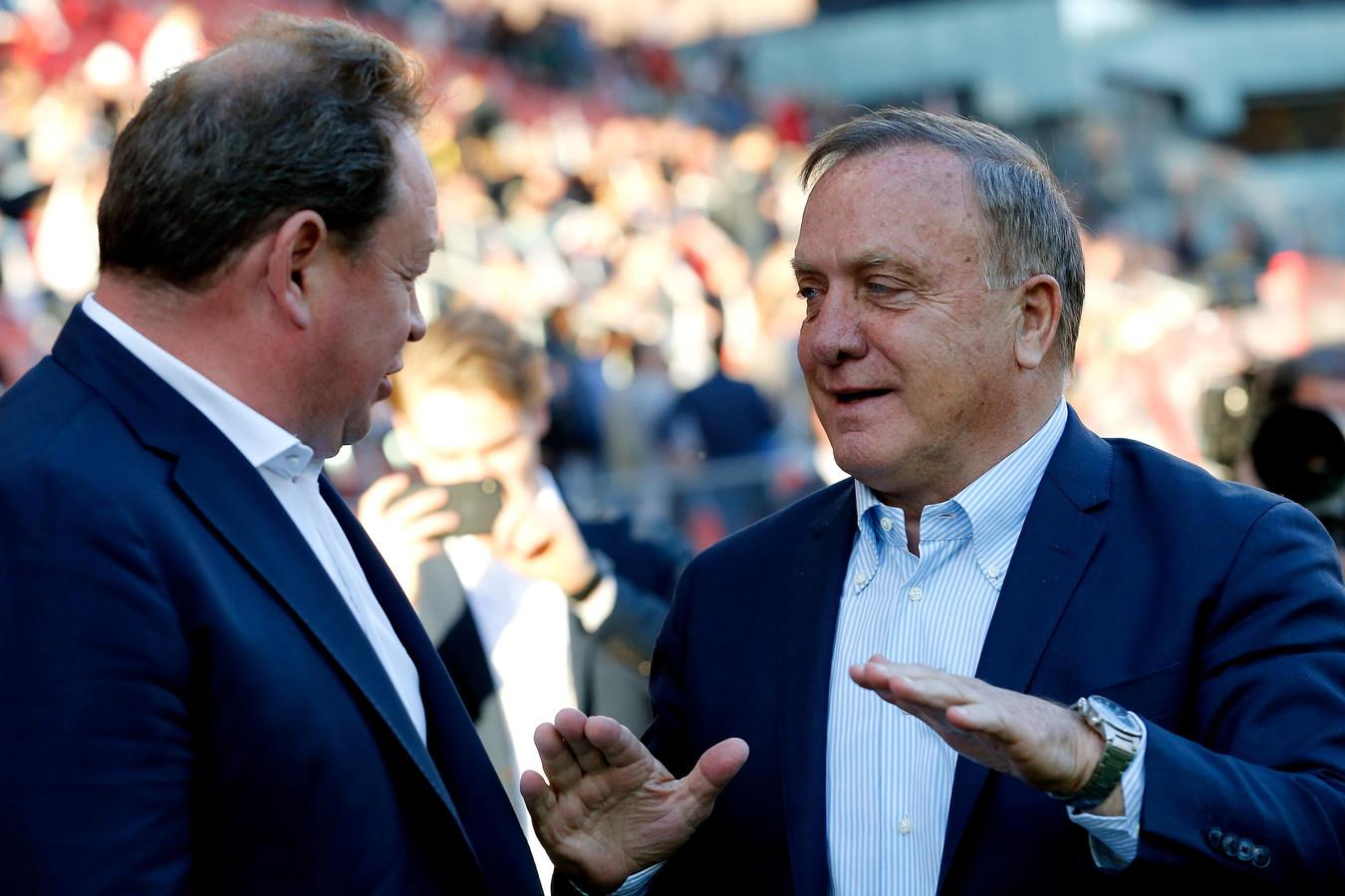 Dick Advocaat met Leonid Sloetski, de coach van de tegenstander in de play-offsfinale morgen (Vitesse).