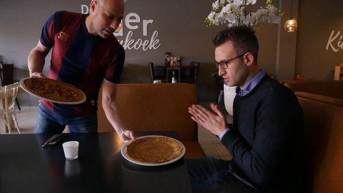 Michel van Oostrum serveerde in maart nog een zelfgebakken pannenkoek in zijn restaurant aan oud-Stentorverslaggever Johan Inan voor de rubriek 'Stiften'.