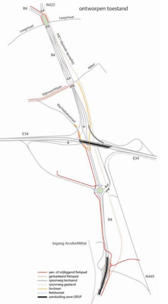 De plannen voor de omvorming van de R4-Oost zoals ze nu voorliggen.