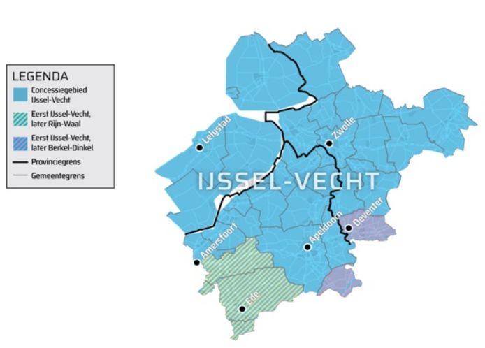 Het gebied dat de nieuwe concessie IJssel-Vecht omvat (blauw).