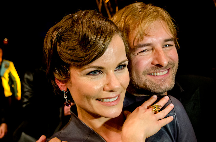 Angela Schijf en Victor Reinier in 2014 na het winnen van de Gouden Televizier-Ring