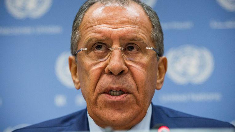 De Russische minister van Buitenlandse Zaken Lavrov bij de VN. Beeld afp