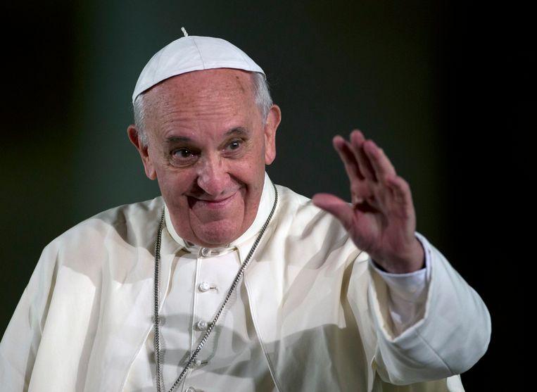 Paus Franciscus laat zich in de film Francesco positief uit over homorechten.  Beeld AP