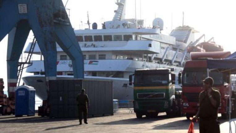 De Mavi Marmara in de haven van Ashodod. ANP Beeld