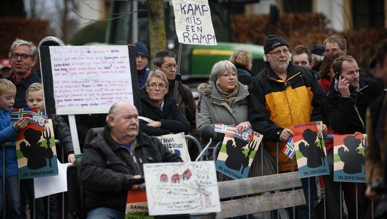 Actievoerders verzamelen zich in Loppersum. Beeld ANP