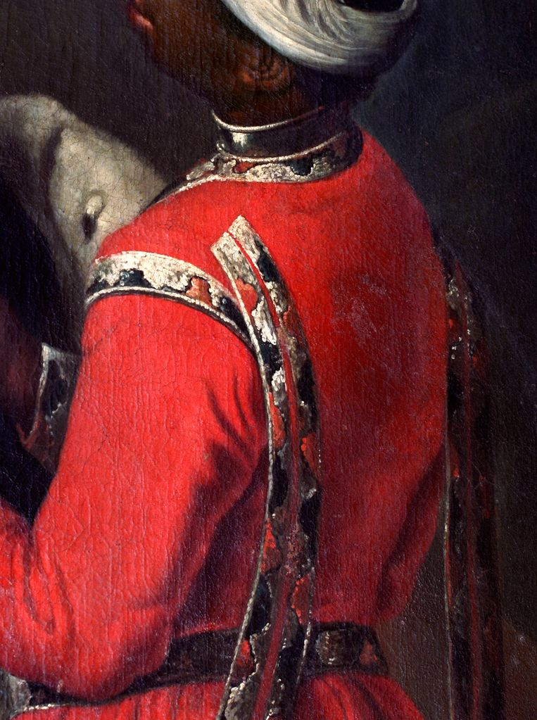 Fotografisch detail uit Portret van Johanna Charlotte van Anhalt-Dessau, anonieme schilder Beeld Centraal Museum Utrecht