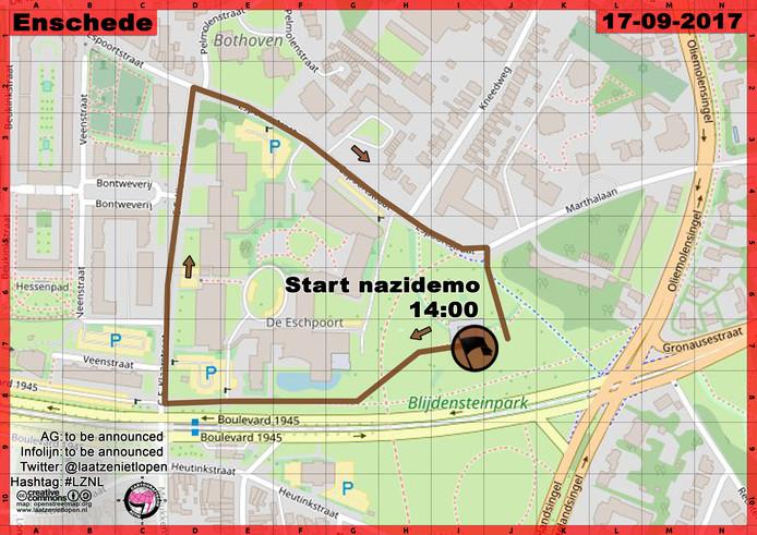 De route die de demonstranten van Pegida zondag lopen in Enschede.
