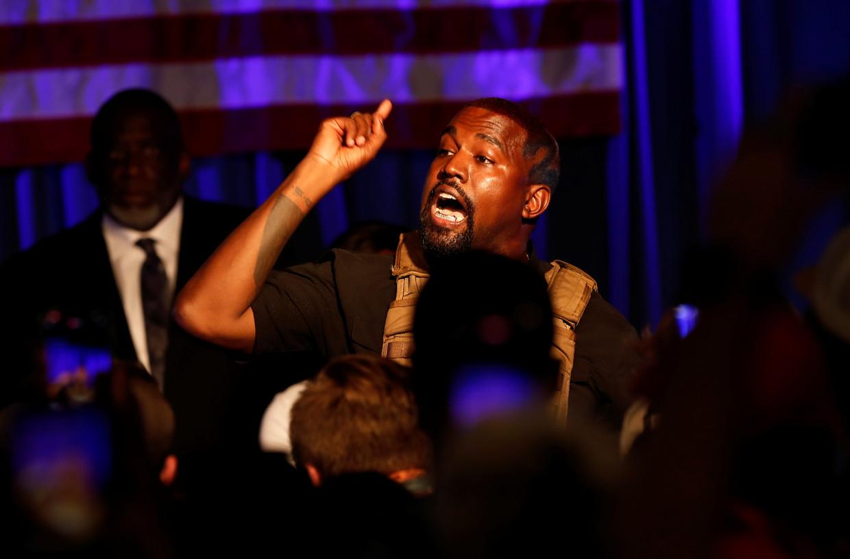 Rapper Kanye West op 19 juli bij de eerste partijbijeenkomst van zijn Birthday Party  in de staat South Carolina.