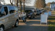 Meteen lange file aan containerpark  in Gompel