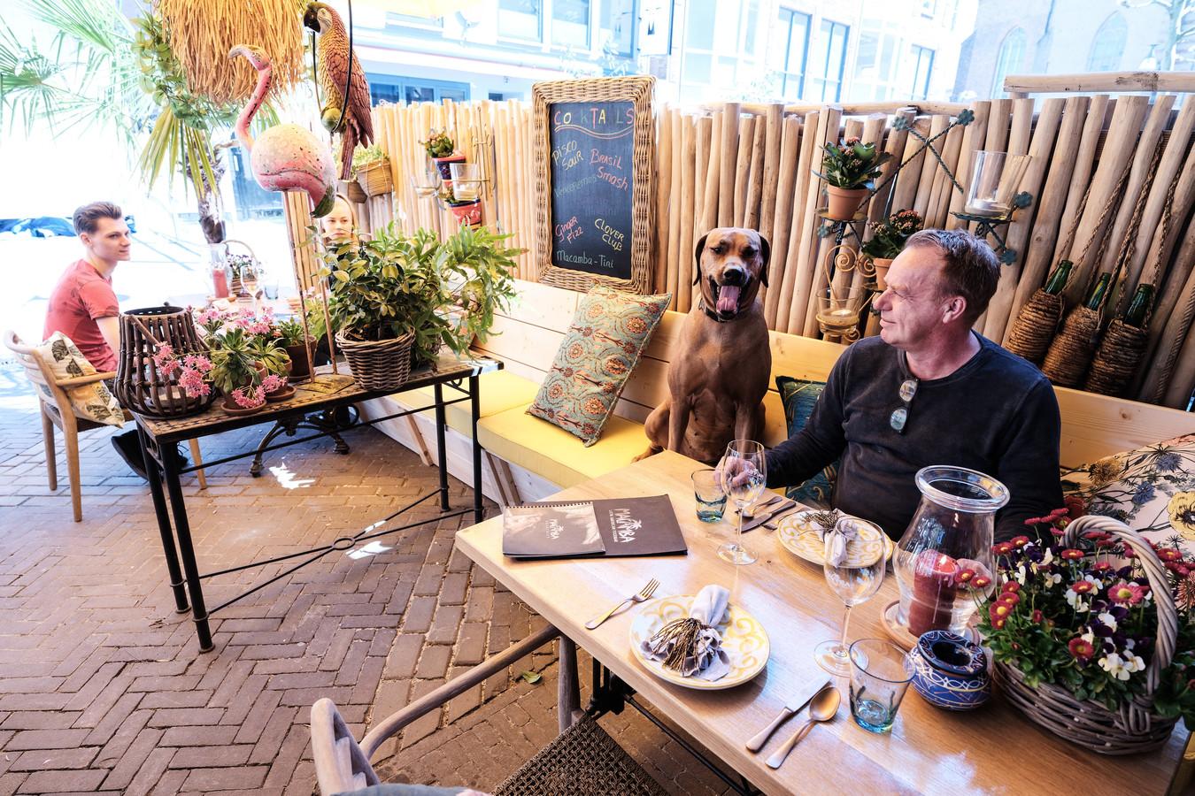 Henk Jan Kuiper, eigenaar van Gringo's, met hond Lola in de anderhalve meter zone van het terras
