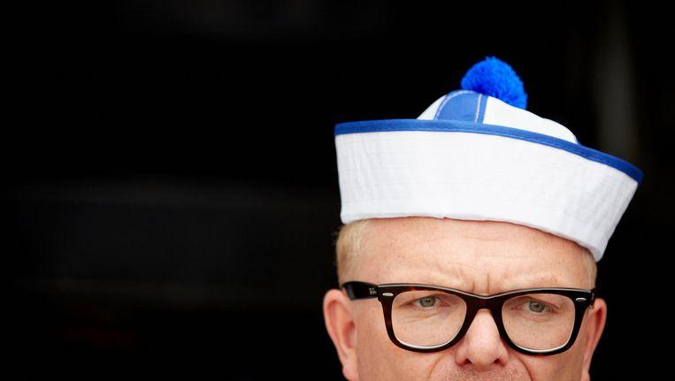 Een clown met een matrozenhoedje op zou het Europese establishment ontregelen. Beeld anp