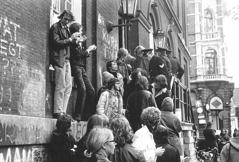 De bezetting van het Maagdenhuis in 1969. Beeld anp