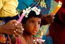 Indiase christenen tijdens een kerstdienst in Bangalore.