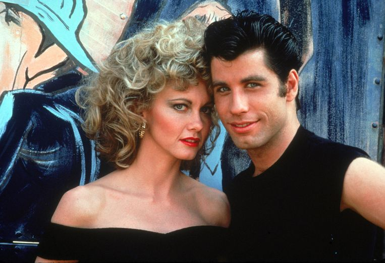Olivia Newton-John en John Travolta als Sandy en Danny in 'Grease'.