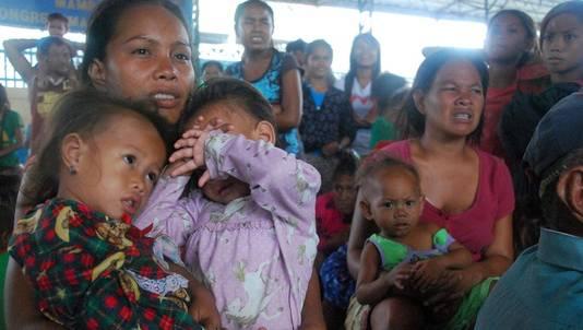 Filipijnse families die opvang hebben gevonden in Cebu.