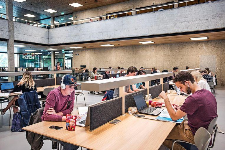 900 studieplekken heeft de vernieuwde bibliotheek van de Erasmus Universiteit in Rotterdam. Beeld Guus Dubbelman / de Volkskrant