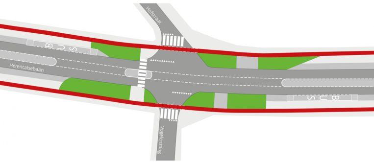 Het kruispunt van de Herentalsebaan met de Hofstraat en Vogelzang na de aanpassingswerken. Het nieuwe fietspad is rechtgetrokken en ligt ook ter hoogte van de zijstraten vrijliggend van de rijweg.
