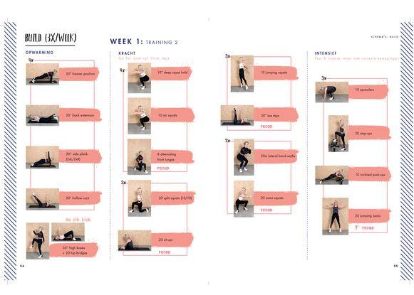 De eerste week van het schema Build, uit het boek 'Body goals' van Kat Kerkhofs en Marius Gielen.