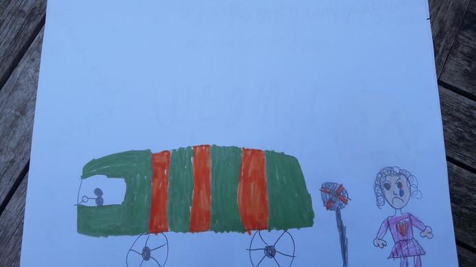 Kindertekening met protest tegen komst zwaar vrachtverkeer voor de aanleg van het 'ecovat' bij Het Dorp in Arnhem,