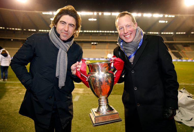 Sá Pinto met Bruno Venanzi na de bekerzege van Standard.