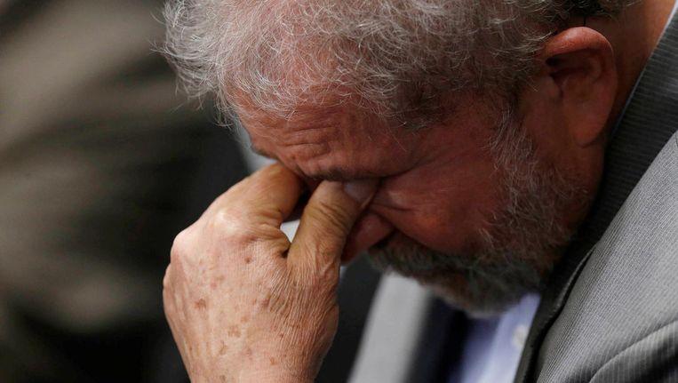 De Braziliaanse oud-president Luiz Inacio Lula da Silva tijdens het afzettingsproces van Dilma Rousseff op 29 augustus. Beeld null