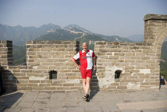 Henry van Hoek (52) op de Chinese Muur.