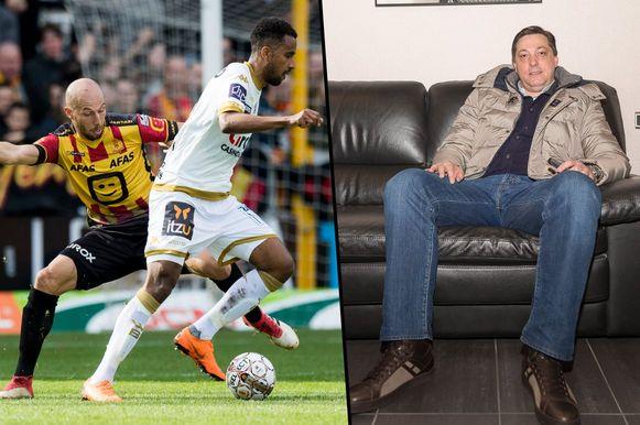 Links: een willekeurig actiebeeld uit de match KV Mechelen - Waasland-Beveren. Rechts: Dejan Veljkovic.