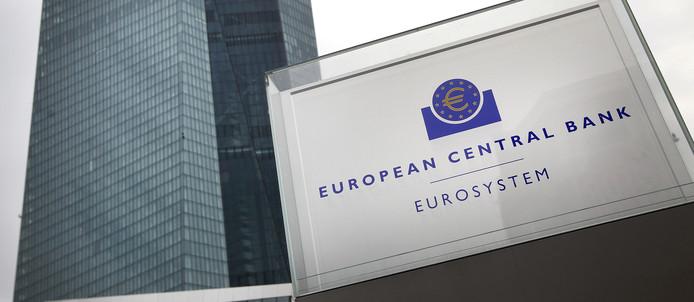 Het hoofdkwartier van de Europese Centrale Bank (ECB) in Frankfurt am Main.