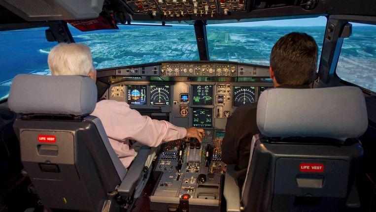 Foto van een cockpit van een airbus 320. Foto ter illustratie; dit is niet de cockpit van het neergestorte vliegtuig. Beeld EPA